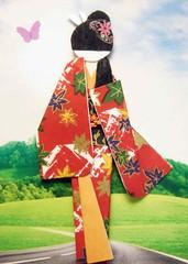 ATC1192 - On the golf course (tengds) Tags: flowers red orange black green grass leaves atc butterfly gold geisha golfcourse kimono obi origamipaper papercraft japanesepaper washi ningyo handmadecard chiyogami yuzenwashi japanesepaperdoll origamidoll nailartsticker tengds