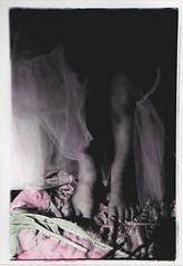 (emma caroline) Tags: flowers feet girl vintage death hands darkness legs lace feminine romance handpainted copper hanging preraphaelite handcoloured toner romanticism handcolouring