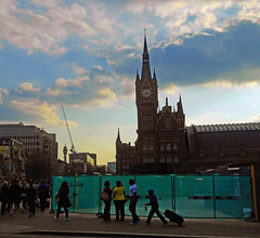 St Pancras at Sunset (Dunc(an't stand this new layout!)) Tags: sunset sky london clouds bttower kingscross stpancras stpancrashotel