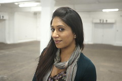 Soma (Gary Kinsman) Tags: portrait woman london pose asian empty warehouse bricklane e1 spitalfields bengali indoormarket 2013 fujix100 fujifilmfinepixx100 bricklaneindoormarket