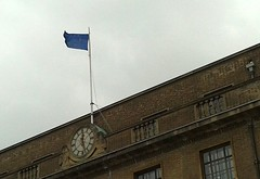 European Guildhall (James Bowe) Tags: cambridge europe flags europeanunion 2012 marketsquare guildhall
