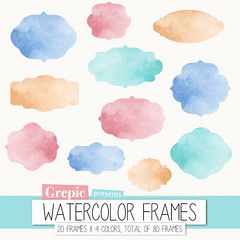 "Watercolor frame clipart: Digital frames ""WATERCOLOR FRAMES"" clip art pack with watercolour frames in four different colors (workyourart) Tags: pink blue art digital watercolor frames clip frame clipart watercolour"