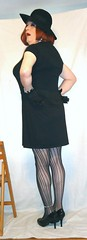 6-18-2 (prettysissydani) Tags: black hat tshirt tights skirt crossdressing redhead gloves mysexylegs