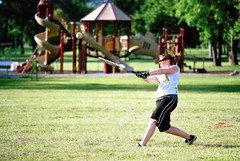 Saturday Softball (natestation2) Tags: park 3 film sports playground canon eos is kodak iso400 saturday l omaha softball aspen batting portra f4 70200mm