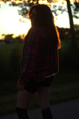 Teenage Waste (Brooke.Butler) Tags: park sunset red portrait fall nature girl fashion backlight hair model friend warm bokeh september teen flannel friday tones