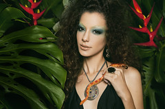 Enchantress (AnnuskA  - AnnA Theodora) Tags: red portrait black green colors beautiful beauty fashion necklace model snake queen bikini jungle mysterious brazilian enchantress