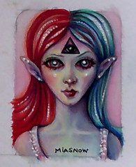 MIASNOW Drawing Nov 7 2013 ACEO (MiaSnow) Tags: girl bigeyes drawing alien elf aceo faery fae colorpencil thirdeye glossyeyes miasnow