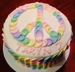 Rainbow petal cake by Cristy, Raleigh Durham, NC, www.birthdaycakes4free.com