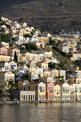Symi, Greece (C1770) (C-Dals) Tags: houses water nikon harbour hill greece nikkor symi d5200 18300mmf3556gvr vision:outdoor=088 vision:sky=0582