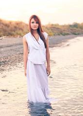 Chelsea (Joe Mahley) Tags: sunset red white lake beach water girl hair pretty dress