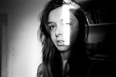 (Džesika Devic) Tags: light portrait blackandwhite film girl 35mm shadows grain contax ilford