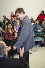 20140202__MG_4829_Yarn_To_Garment (Pat Kilkenny) Tags: ohio color wool fashion yarn fabric weaving weave oberlin garment 2014 oberlincollege 13thannual betsybruce yarntogarment
