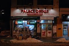 20150127.2 (Andy Atzert) Tags: snow night trash newjersey jerseycity pharmacy storefront liquorstore palacedrugs