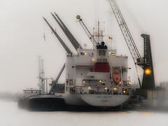 Unloading the ship (vale0065) Tags: haven water port boot harbor boat dock ship crane antwerpen kraan scheepvaart dok anrwerp