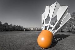SHUTTLECOCK (Lisa Plymell) Tags: orange kansascity missouri shuttlecock selectivecolor nelsonatkinsmuseum sigma1020 nikond5200