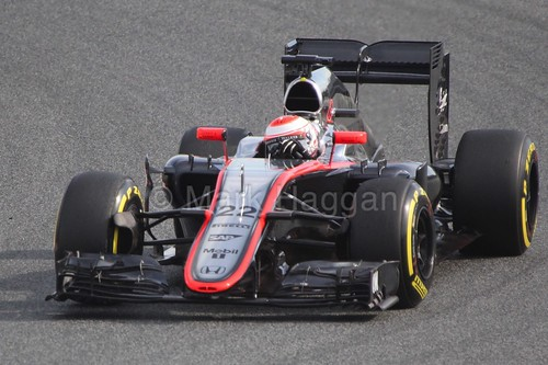 Jenson Button in the McLaren in Formula One Winter Testing 2015