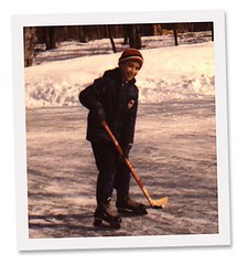 Michael playing pond hockey 1980