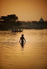 Myanmar (Eug3nio) Tags: travel orange man asia burma myanmar amarapura sagaing birmania