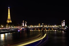 Light Trails (Sarah Marston) Tags: longexposure bridge paris france seine night river lights boat sony eiffeltower lighttrails alpha riverseine 2016 a65