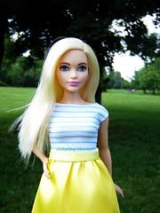 Srpring stroll out (Nickolas Hananniah) Tags: park yellow dress barbie blond barbiedoll sripes barbiefashionistas curvybarbie