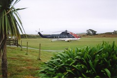 Surely the prettiest airfield in the UK. Tresco 1999. (Chris Firth of Wakey.) Tags: helicopter tresco seaking scillyisles gbffj