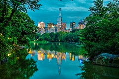 Blue hour reflection of Midtown Manhattan Concrete Jungle, New York City. (mitzgami) Tags: bluehour lazyshutter longexposure nightphotography nature summer greens landscapes photography nikonphotography nikon manhattan midtownmanhattan reflection landscape nyc newyorkcity theramble therambleandlake centralpark thelake