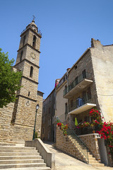 (Voyages Lambert) Tags: old travel roof sky france tower church vertical architecture town europe village religion corsica medieval catholicism famousplace sartene buildingexterior mediterraneancountries mediterraneanculture templebuilding frenchculture stonematerial