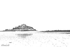 The tide is out......... (The world in f stops) Tags: uk sea england blackandwhite beach nature water canon spring cornwall outdoor tide stmichaelsmount
