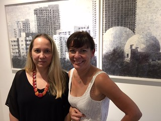 Irina Leyva-Perez, Curator, with Gallery Director Janda Wetherington at the new Pan-American art projects space in Little River