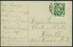 """Archiv E655 """"Frhliche Weihnachten"""" (back), Poststempel Wien, 28. Dezember 1909 (Hans-Michael Tappen) Tags: vintage stamps postcard 1900s 1909 postkarte emphemera briefmarke poststempel weihnachtsgrse 1900er archivhansmichaeltappen"""