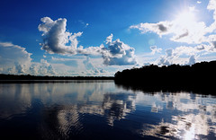 Lake Sandoval Cloud Reflections (amanda_is_wacky) Tags: amazon peru reflections reflection cloud clouds water lake silhouette rainforest forest trees