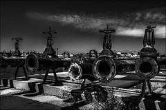 Pipelines (vedebe) Tags: street city bw monochrome port noiretblanc nb rue quai ville usine fleuve abandonn netb usinedsaffecte