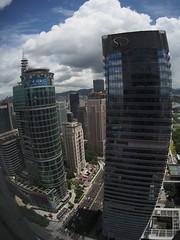 Skyscrapers (murozo) Tags: china sky cloud reflection building skyscraper fisheye guangdong shenzhen