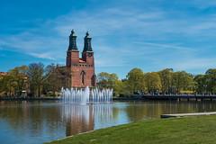 Eskilstuna church (paulius.malinovskis) Tags: bridge church fountain beautiful town spring sweden sony sunny roadtrip adventure charming scandinavia eskilstuna