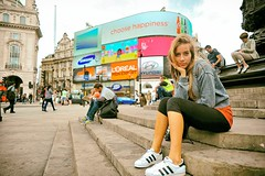 Choose Happiness (Steve Lundqvist) Tags: street uk travel portrait england people travelling london girl advertising square outside open circus united kingdom piccadilly adidas londra inghilterra