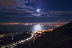 Summer Solstice Evening - 5 (fksr) Tags: evening summersolstice marinheadlands marincounty california landscape fullmoon reflection moonlight citylights goldengate sanfranciscobay sanfrancisco baybridge