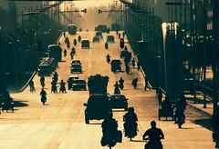 Gold Rush (__Thomas Tassy__) Tags: kachgar kashgar china xinjiang road car sunset sunrise street crowd
