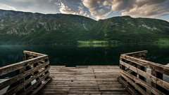 Peace and clarity (Mario Visser) Tags: wood lake mountains green water clouds sigma rood bohinj landingstage d7100 mariovisser