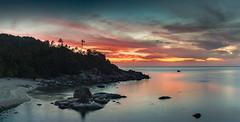 Tropic Dawn (Jerry Fryer) Tags: longexposure pink light red sea panorama seascape mountains reflection beach sunrise thailand dawn coast rocks amanecer palmtrees cielo kohsamui granite tropic 6d asiancuisine leverdusoleil leefilters 6gndhard ef1635mmf4l