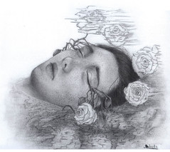 F (rose.robin) Tags: flowers roses portrait drawing
