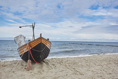 Koserow (damianschaerer) Tags: travel blue sea vacation sky holiday tourism beach nature water clouds relax landscape coast boat wooden fishing sand waves ship vessel baltic journey shore idyllic waterside usedom pomerania koserow groynegermany