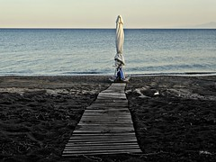 A path to umbrella...!.vatera beach..Polihnitos Lesbos Greece (panoskaralis) Tags: sea summer sun beach nature swimming seaside hellas greece lesbos umbrela swimm mytilene summerholidays aegeansea lesvosisland greeksummer vaterabeach