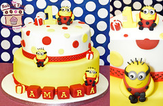 Despicable Me Minion Cake (The Baking Tray) Tags: birthday red white yellow cake happy glasses 1st spots spotty presents amara minion happy1stbirthday celebrationcake twotiercake despicablememinioncake despicablemetwotiercake chocolatevanillatieredcake