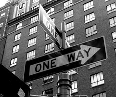 One way (valent68) Tags: street york nyc urban bw ny newyork building america noiretblanc manhattan panasonic oneway panasonicdmctz3