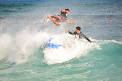5 of 6  Eject!! (Ctuna8162) Tags: ocean beach hawaii waves play oahu surfer wave surfing trafficjam bodyboarding sandybeach nearmiss bodyboarder
