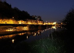 View along River Avon, Bristol, at night (DanielWestern) Tags: night bristol riveravon