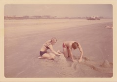 JJ & Bill (foxesandfigs) Tags: family building film beach vintage mom island parents photo bill jj sand dad jennifer south father mother parent 70s 1970s build sandcastles sandcastle seventies padre