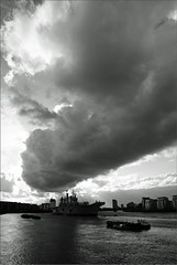 R06 HMS Illustrious (PaulHP) Tags: white storm black london monochrome rain thames clouds river anniversary greenwich navy royal battle atlantic boa 70th illustrious approaching rn hms r06