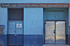 moment of clarity (lucymagoo_images) Tags: city blue our urban philadelphia sign metal wall see words doors painted sony clarity blues clear vision philly slowly enough loitering becomes rx100 lucymagoo lucymagooimages