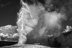 High Energy (tabitha hawk photography) Tags: travel sky blackandwhite white black nature water clouds landscape outdoors nationalpark unitedstates hiking oldfaithful yellowstonenationalpark yellowstone wyoming geyser tabithahawk wwwtabithahawkcom